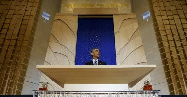 President Obama delivers remarks Friday at Adas Israel in celebration of Jewish American Heritage Month. (Photo: UPI/Newscom)