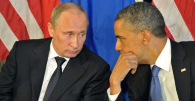 U.S. President Barack Obama and Russian President Vladimir Putin talk at the G20 Summit in 2012. (Photo: Alexei Nikolsky/Ria Novosti/Krem)