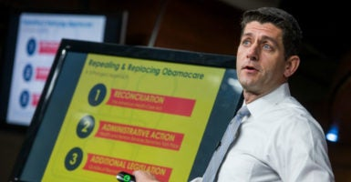 House Speaker Paul Ryan conducts a presentation of the American Health Care Act, March 9, 2017. (Photo: Tom Williams/CQ Roll Call/Newscom)