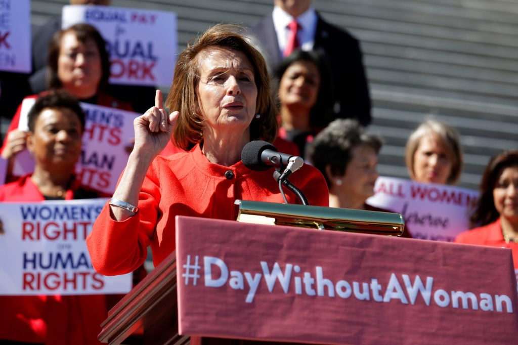 House Minority Leader Nancy Pelosi, D-Calif., speaks to supporters during the 'Day Without a Woman' gathering outside the U.S. Capitol, March 8, 2017. (Photo: Joshua Roberts/Reuters/Newscom)