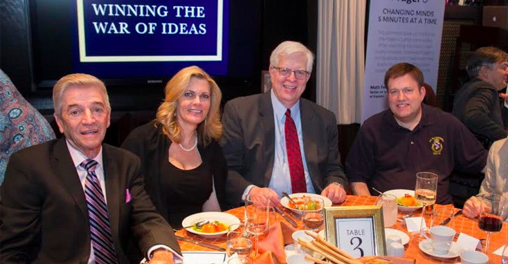 A summertime fundraiser for PragerU. From left to right: Comedian Tom Dreesen, Sue Prager, Dennis Prager, pollster Frank Luntz. (Photo: Courtesy PragerU)