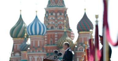 Russian President Vladimir Putin addresses the Victory Day Parade in the Red Square in Moscow, Russia (Photo: ALEXANDER ZEMLIANICHENKO / POOL/EPA/Newscom)