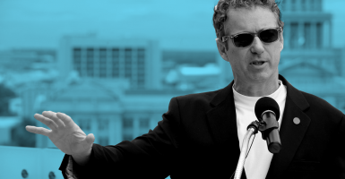 "Sen. Rand Paul, R-Ky., represents ""a rising tide in America,"" a tea party founder says. (Photo illustration by Kelsey Harris for The Daily Signal;  photo: Newscom)"