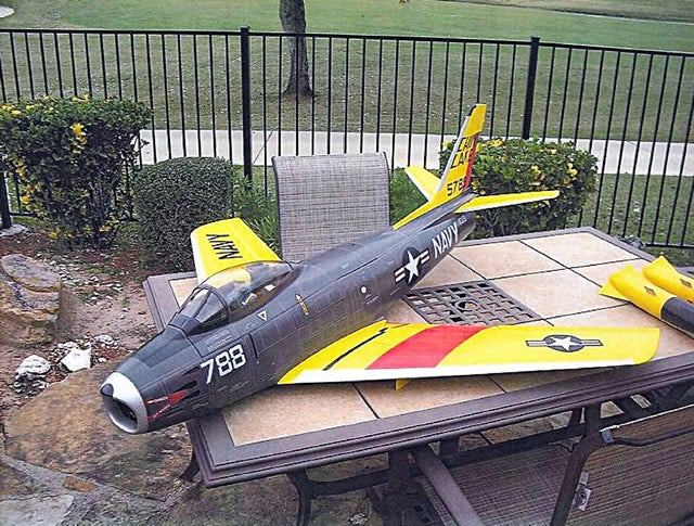 This undated photo released by the United States Attorney's Office District of Massachusetts (USAMA), shows a remote controlled model of the US Navy's 1950s Sabre jet fighter that allegedly belonged to Rezwan Ferdaus, who was arrested on September 28, 2011 on charges of planning to fly explosive-packed, remote controlled airplanes into the Pentagon and the Capitol in Washington, authorities said. - AFP PHOTO / United States Attorney's Office District of Massachusetts