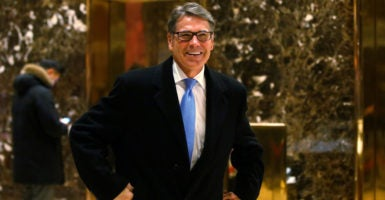 Former Texas Gov. Rick Perry met with President-elect Donald Trump at Trump Tower in New York City on Nov. 21, 2016. (Photo: Reuters/Brendan McDermid)
