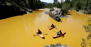 Aug. 10, 2015 - The EPA team accidentally released waste water into a creek which flows into the Animas River. (Photo: Jerry Mcbride/ZUMA Press/Newscom)