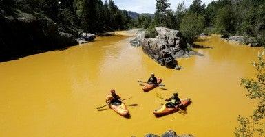 Animas River after EPA spill in August. (Photo: Jerry Mcbride/ZUMA Press/Newscom)