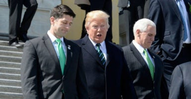 House Speaker Paul Ryan, President Donald Trump, and Vice President Mike Pence walk down the steps of the U.S. Capitol on March 16, 2017. (Photo: Olivier Douliery/Pool/EPA/Newscom)