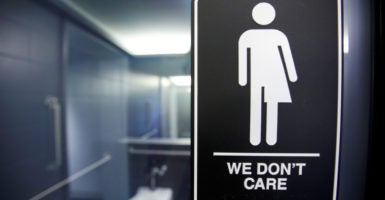 The 21C Museum Hotel in Durham, North Carolina, protests the state law that mandates public restrooms and locker rooms be used by biological sex not gender identity. (Photo: Jonathan Drake/File Photo/Reuters/Newscom)