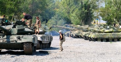 The Azov Battalion operates about a dozen T-64 tanks at its base in Urzuf, outside Mariupol. (Photo: Nolan Peterson/The Daily Signal)