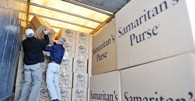 Samaritan's Purse volunteers load trucks with supplies earlier this year in Georgia. (Photo: Jon-Michael Sullivan/ZUMA Press/Newscom)