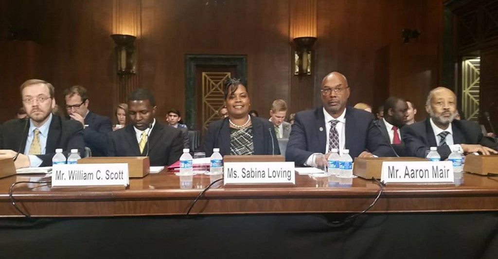 Sabina Loving testifies on regulation before the Senate Finance Committee on October 6, 2015. (Photo: Dan Alban)