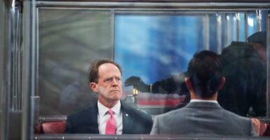 "Sen. Pat Toomey, R-Pa., describes his bill punishing ""sanctuary"" cities as addressing what he views as a public safety issue. (Photo: Tom Williams/CQ Roll Call/Newscom)"