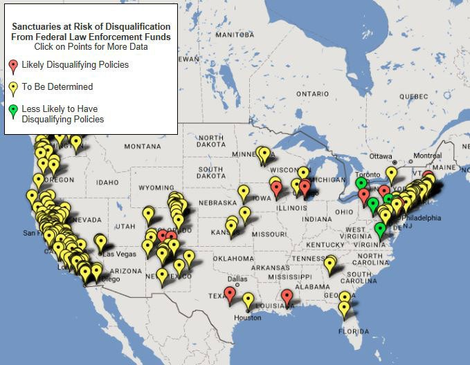 Jeff Sessions Set To Block Millions In Funding To Sanctuary Cities - Map of us sanctuary cities