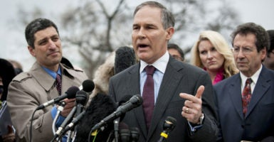 Scott Pruitt has led the charge in a number of state-initiated lawsuits against different Obama administration agencies. (Photo: Pete Marovich /UPI/Newscom)