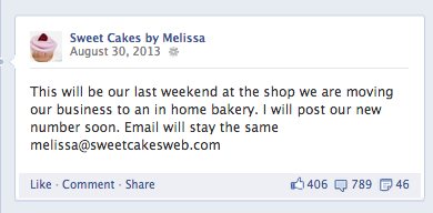 Sweet Cakes Facebook Page