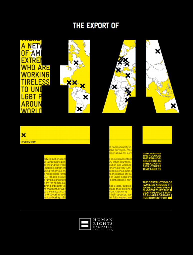 Human Rights Campaign, 'The Export of Hate' cover