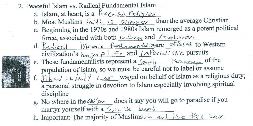 Porter Ridge High School in-class worksheet about Islam