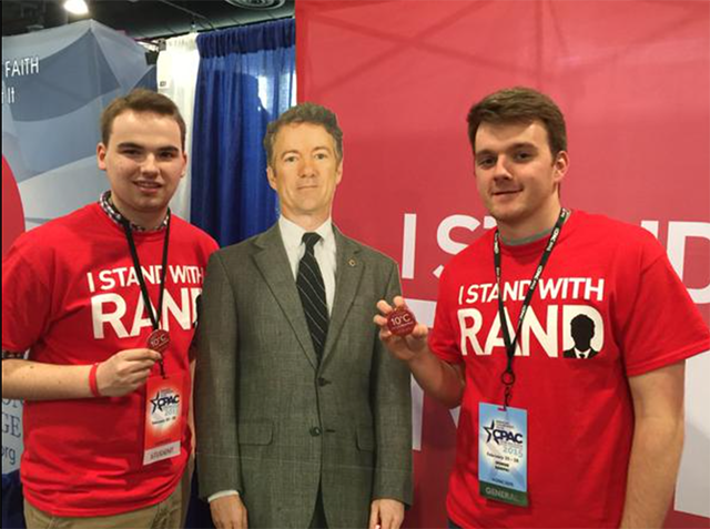 "Young fans ""stand"" with Rand at the Conservative Political Action Conference in Feb. Paul won CPAC's presidential straw poll for the third year in a row. (Photo: Rand Paul Twitter, @RandPaul)"