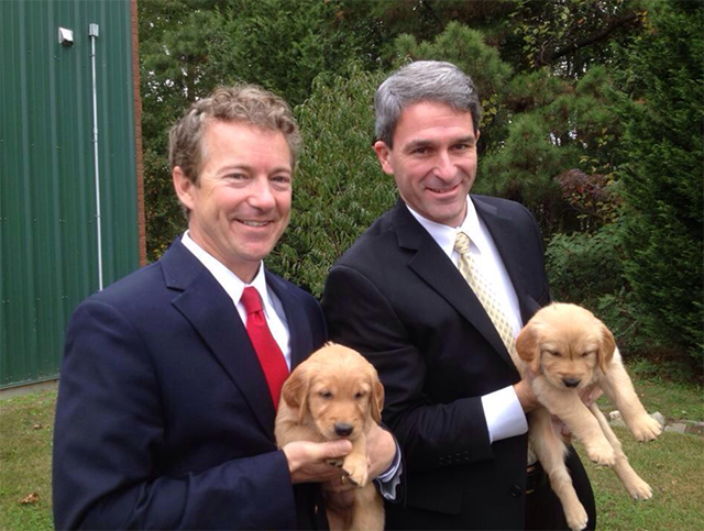 "In December, Paul took to Twitter to ""air his grievences."" This picture was Tweeted with the caption, ""Politics doesn't involve enough puppies. People like puppies. #AiringOfGrievances"" (Photo: Rand Paul Twitter, @RandPaul)"