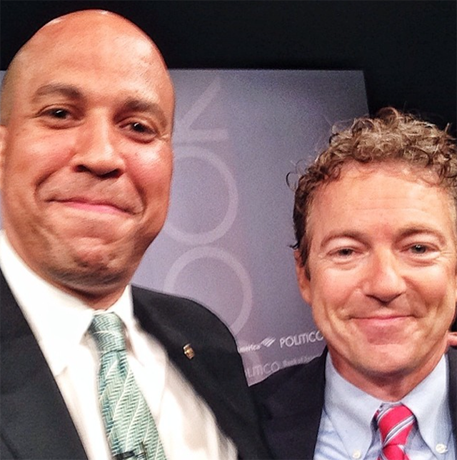 "Sen. Paul poses with Sen. Cory Booker, D-N.J. for Booker's quest to take 99 selfies. On his Instagram, Booker wrote, ""...I have found common ground around the urgent need to reform our criminal justice system and address the anguished and expensive reality of mass incarceration of nonviolent offenders in the USA. We also bonded over our respect for the holiday of Festivus (Senator Paul has a long list of grievances)."" (Photo: Cory Booker Instagram)"