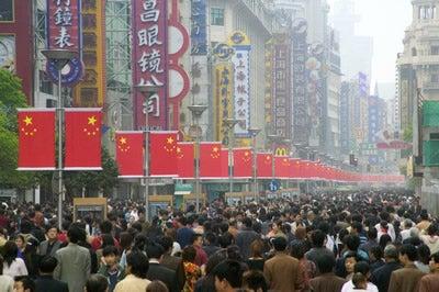 Crowds on Nanjing Road, Shanghai, China