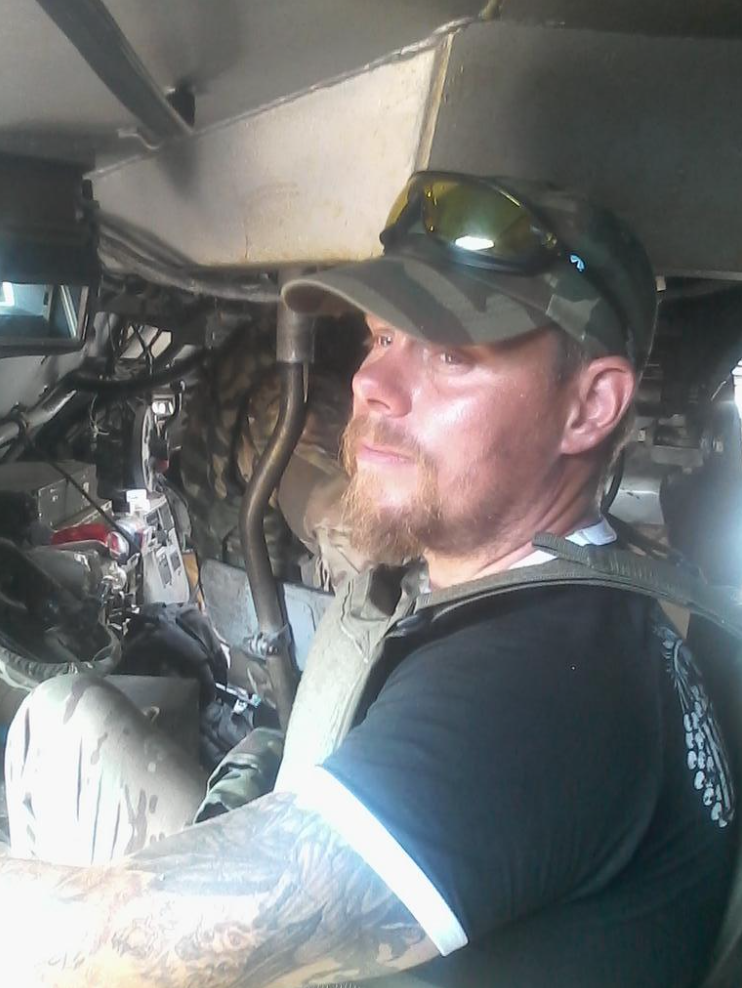 Skilt inside an armored personnel carrier in eastern Ukraine (Photo courtesy Mikael Skilt)