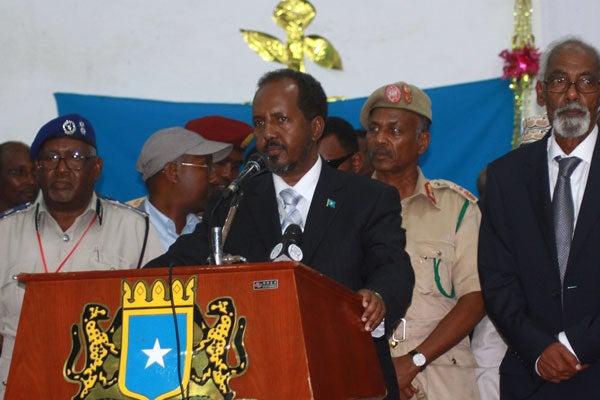 Somalia's newly elected President Hassan Sheikh Mohamud (C) delivers a speech on September 10, 2012 in Mogadishu. (Photo: AFP)