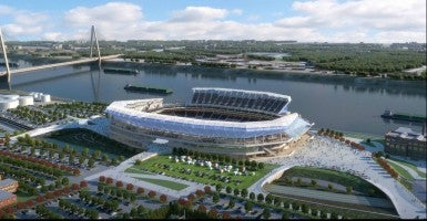 Renderings of a proposed new riverfront stadium for the St. Louis Rams of the NFL
