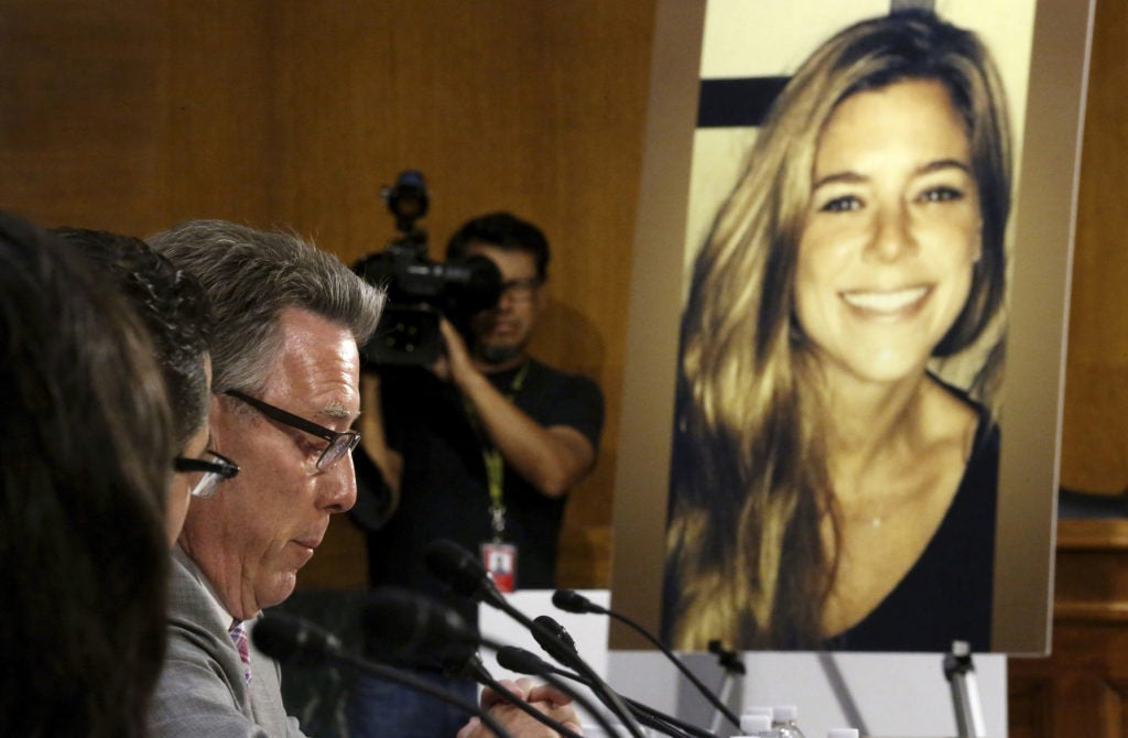Jim Steinle, left, father of murder victim Kate Steinle (in photo), testified before the Senate Judiciary Committee in 2015 about his daughter's murder at the hands of a criminal alien. (Photo: Jonathan Ernst/Reuters/Newscom)