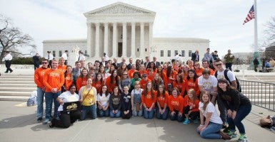 Students from Oklahoma Wesleyan University and Geneva College gather in front of the Supreme Court on Wednesday, March 23. Both schools are parties to the case Zubik v. Burwell. (Photo: Alliance Defending Freedom)
