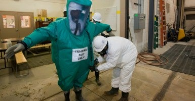 Job Corps trainees learn how to clean up hazardous materials at the Michigan Laborers' Training and Apprenticeship Institute (Photo: Jim West imageBroker /Newscom