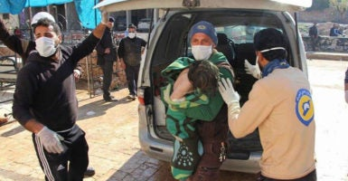 Activists report the Syrian government launched an airstrike on the town of Khan Sheikhoun, where scores of civilians, including many women and children, were reportedly killed. (Photo: Syria Civil Defence/Zuma Press/Newscom)
