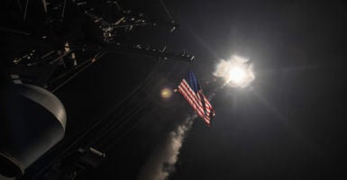 From American ships in the eastern Mediterranean, the U.S. military launched 59 missiles at a Syrian military airfield. (Photo: Polaris/Newscom)