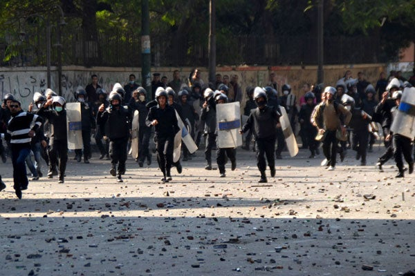 Protesters are clashing with police in Tahrir Square in Cairo, Egypt. (Photo: Polaris/Newscom)