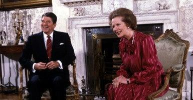 June 5, 1984, Washington, DC, USA: President Ronald Reagan with Prime Minister Margaret Thatcher.  (Photo: Darryl Heikes/Polaris/Newscom)
