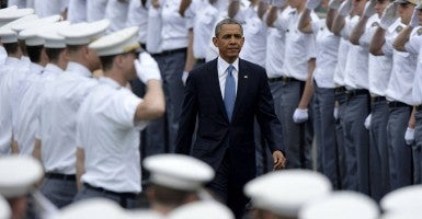 President Barack Obama attends the graduation ceremony at the United States Military Academy at West Point, New York. (Photo: Newscom)
