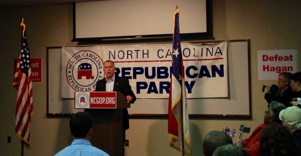 """North Carolina Republican Senate candidate Thom Tillis, campaigning Saturday, believes he has the """"momentum"""" in a competitive race. Photo: Josh Siegel/The Daily Signal"""