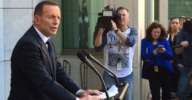 Former Australian Prime Minister Tony Abbott speaks to the media at Parliament House in Canberra, September 15, 2015. Australia got its fifth prime minister in eight years after the ruling Liberal Party on Monday voted out Tony Abbott in favor of longtime rival Malcolm Turnbull, following months of infighting and crumbling voter support. (Photo: Staff /Reuters/Newscom)