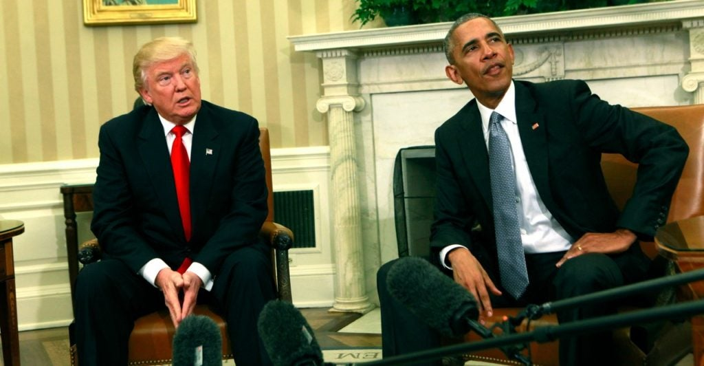President-elect Donald Trump could undo some of President Barack Obama's executive actions with his own. (PhotoDennis Brack/Newscom)