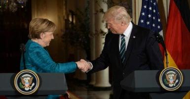 President Donald Trump welcomes German Chancellor Angela Merkel to the White House, March 17, 2017. (Photo: Christy Bowe/Polaris/Newscom)