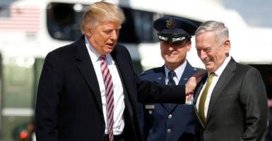 President Trump, pictured with Defense Secretary James Mattis (right), has delegated authority on operational and tactical counterterrorism decisions to the Pentagon. (Photo: Jonathan Ernst/Reuters/Newscom)