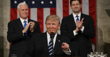 President Donald Trump delivers his first remarks to a joint session of Congress, Feb. 28, 2017. (Photo: Jim Lo Scalzo/Pool/EPA/Newscom)