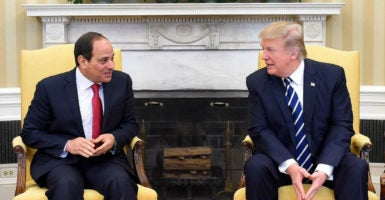 President Donald Trump met with Egyptian President Abdel Fattah el-Sisi on April 3, only several days before ISIS killed dozens of Egyptian Christians in two separate church bombings. (Photo: Egyptian President Office/Sipa/Newscom)