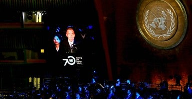 United Nations (UN) Secretary-General Ban Ki-moon addresses the 70th anniversary UN Day Concert presented by the United Nations in New York Oct. 2015. (Photo: JASON SZENES/EPA/Newscom)