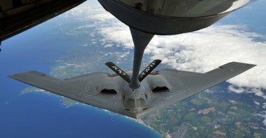 A B-2 Spirit from Whiteman Air Force Base, Mo., performed air refueling with a KC-135 Stratotanker from Royal Air Force Mildenhall June 11, 2014, over Cornwall, England. Whiteman AFB is participating in familiarization training operations while deployed to RAF Fairford. (Photo: U.S. Air Force Senior Airman/Christine Griffiths)