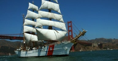 SAN FRANCISCO (July 23, 2008) -- The Coast Guard Cutter Eagle sails under the Golden Gate Bridge during the Festival of Sail on San Francisco Bay. The Eagle is a three-masted barque that carries square-rigged sails on the fore and main masts. The 295-foot long sailing vessel has served the Coast Guard since 1946 and is used as a training platform for cadets and officer candidates to learn leadership, teamwork, seamanship and navigation skills. After its stay in San Francisco through July 27, 2008, the Eagle will visit five other West Coast ports, including San Diego, Los Angeles, Astoria, Tacoma, and Victoria, British Columbia. (Photo: Flickr / Coast Guard photo by Petty Officer Sherri Eng)