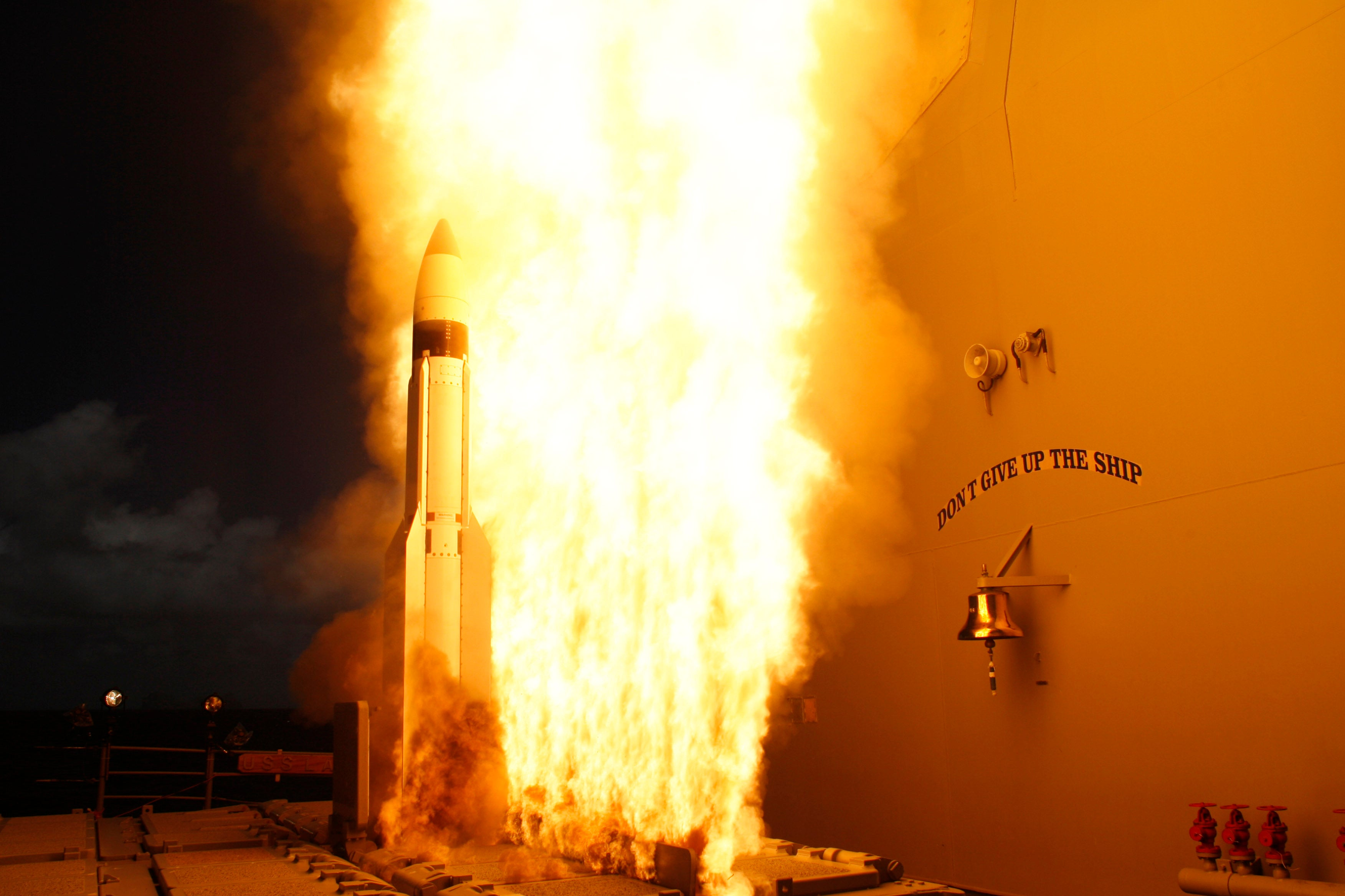 A Standard Missile-3 (SM-3) is launched from the Aegis-class guided missile cruiser USS Lake Erie (CG 70), during a joint Missile Defense Agency, U.S. Navy ballistic missile flight test.