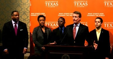 June 24, 2013 - Austin, Texas, United States: Bill Powers, President of the University of Texas at Austin, speaks to the media after the 7-1 Supreme Court ruling on Fisher V. University of Texas at Austin. (Photo: Marjorie Kamys Cotera/Polaris/Newscom)