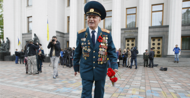 A WWII veteran after the solemn session of Parliament. Ukraine marks the Day of Remembrance and Reconciliation to commemorate all victims of the Second World War. (Photo: Newscom)